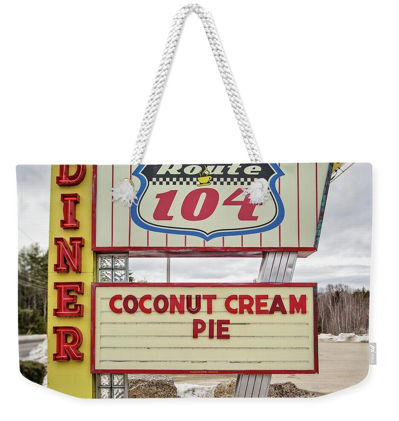 Diner Weekender Tote Bag featuring the photograph Coconut Cream Pie At The Route 104 Diner by Edward Fielding