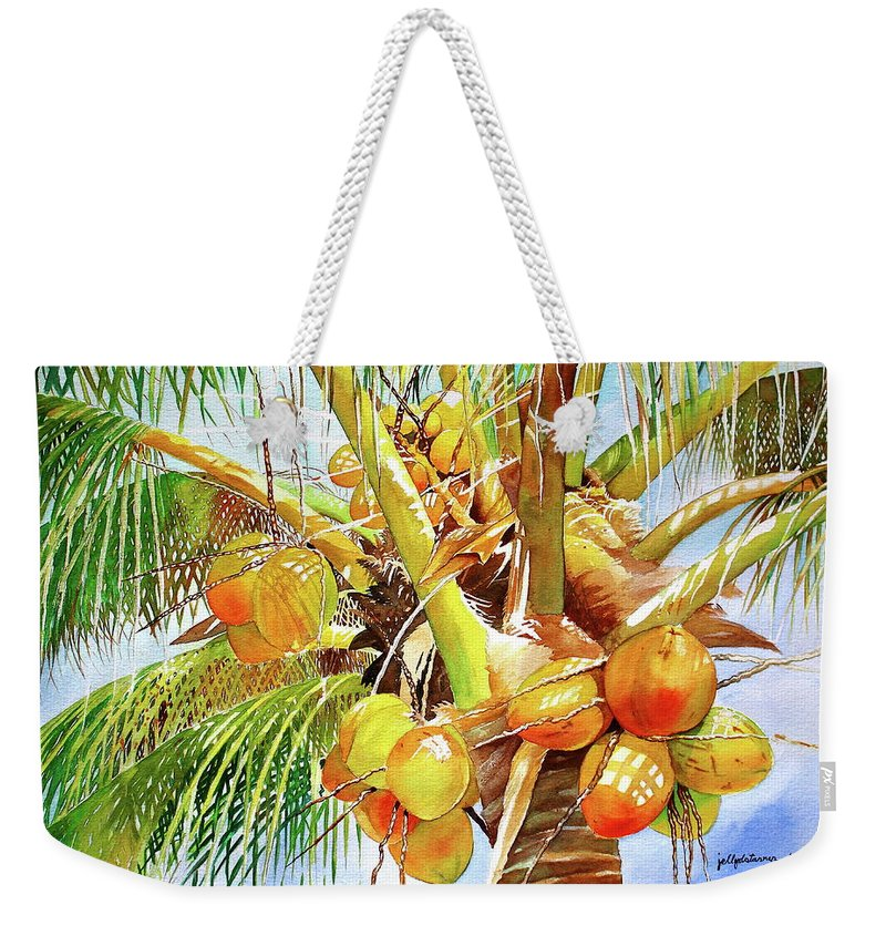 Coconut Tree Weekender Tote Bag featuring the painting Coconut Tree by Jelly Starnes