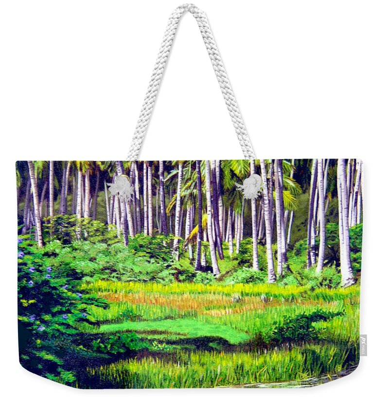 Coconuts Water River Green Art Tropical Weekender Tote Bag featuring the painting Coconuts Trees by Jose Manuel Abraham