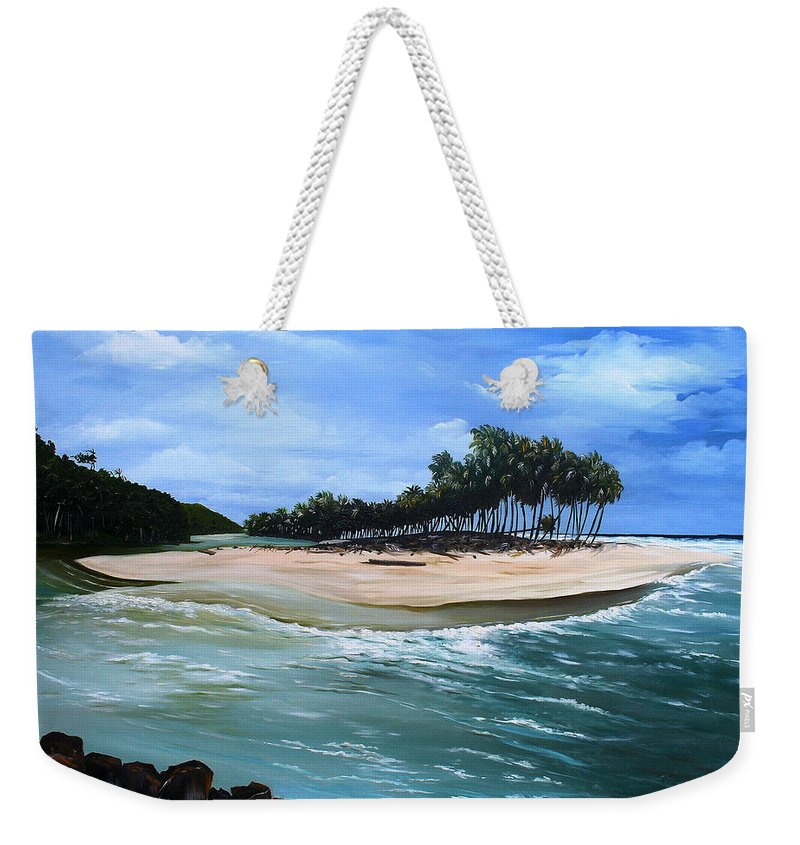 Ocean Paintings Sea Scape Paintings  Beach Paintings Palm Trees Paintings Water Paintings River Paintings  Caribbean Paintings  Tropical Paintings Trinidad And Tobago Paintings Beach Paintings Weekender Tote Bag featuring the painting Cocos Bay Trinidad by Karin Dawn Kelshall- Best