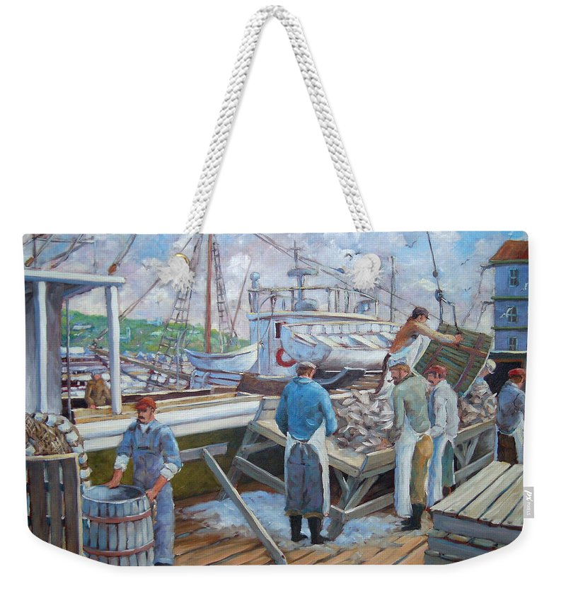 Cod Weekender Tote Bag featuring the painting Cod Memories by Richard T Pranke