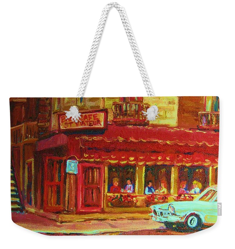 St Weekender Tote Bag featuring the painting Coffee Bar On The Corner by Carole Spandau