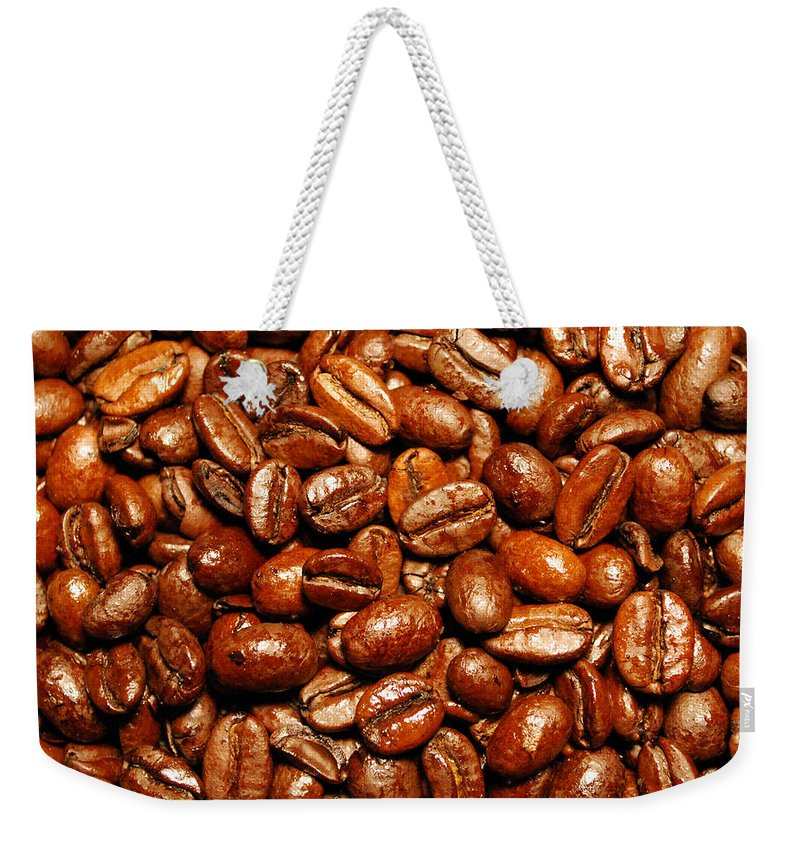 Coffee Weekender Tote Bag featuring the photograph Coffee Beans by Nancy Mueller