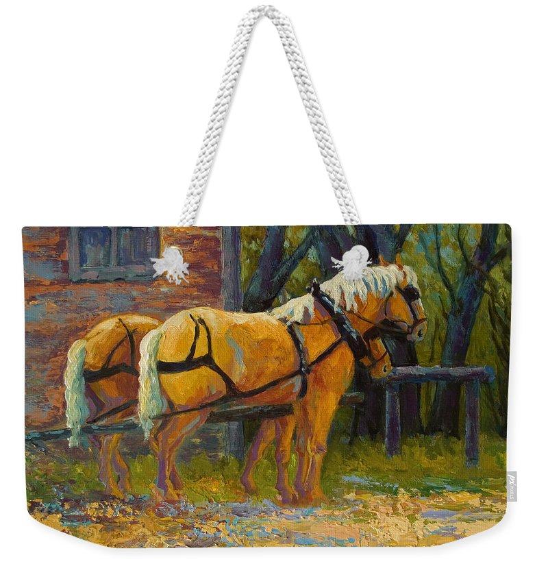 Horses Weekender Tote Bag featuring the painting Coffee Break - Draft Horse Team by Marion Rose