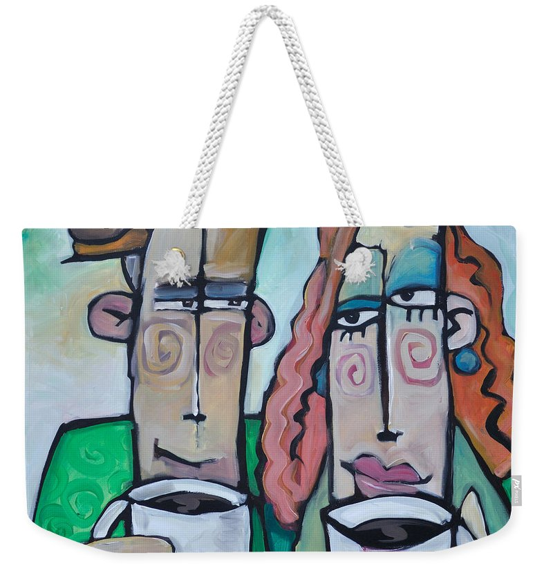 Coffee Weekender Tote Bag featuring the painting Coffee Date by Tim Nyberg