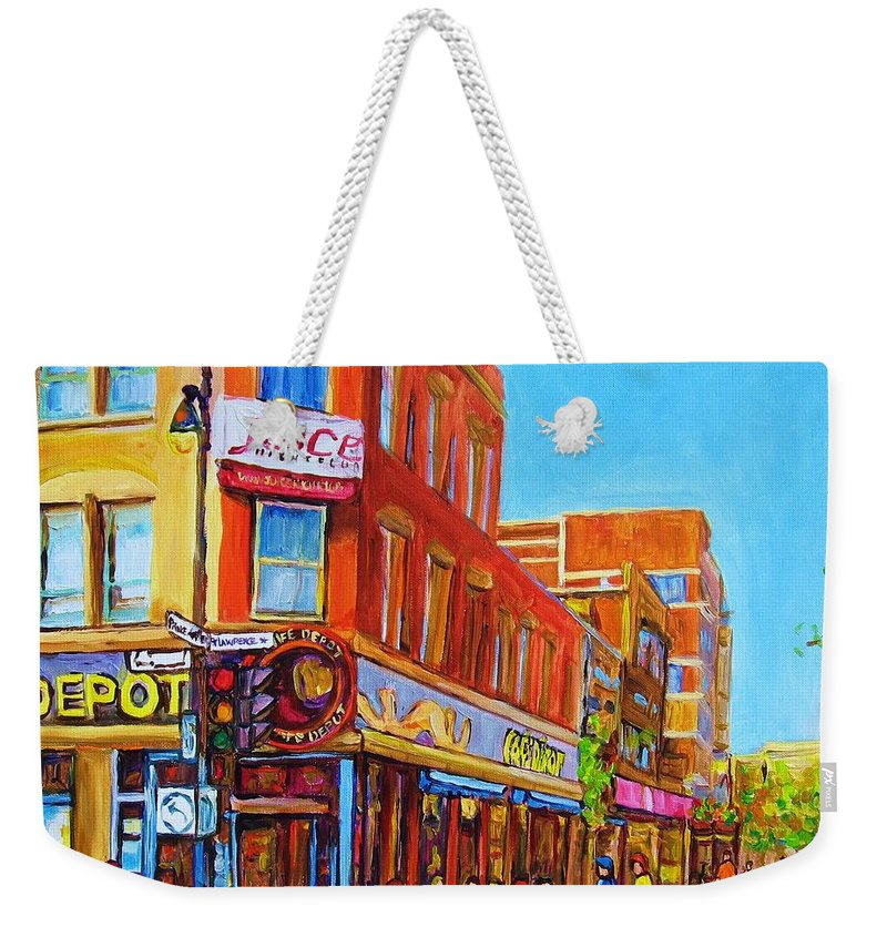 Cityscape Weekender Tote Bag featuring the painting Coffee Depot Cafe And Terrace by Carole Spandau
