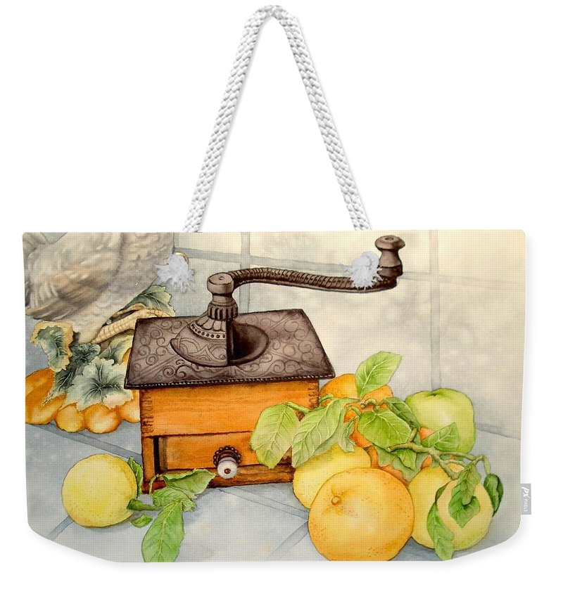 Still Life Weekender Tote Bag featuring the painting Coffee Grinder by Sonya Catania