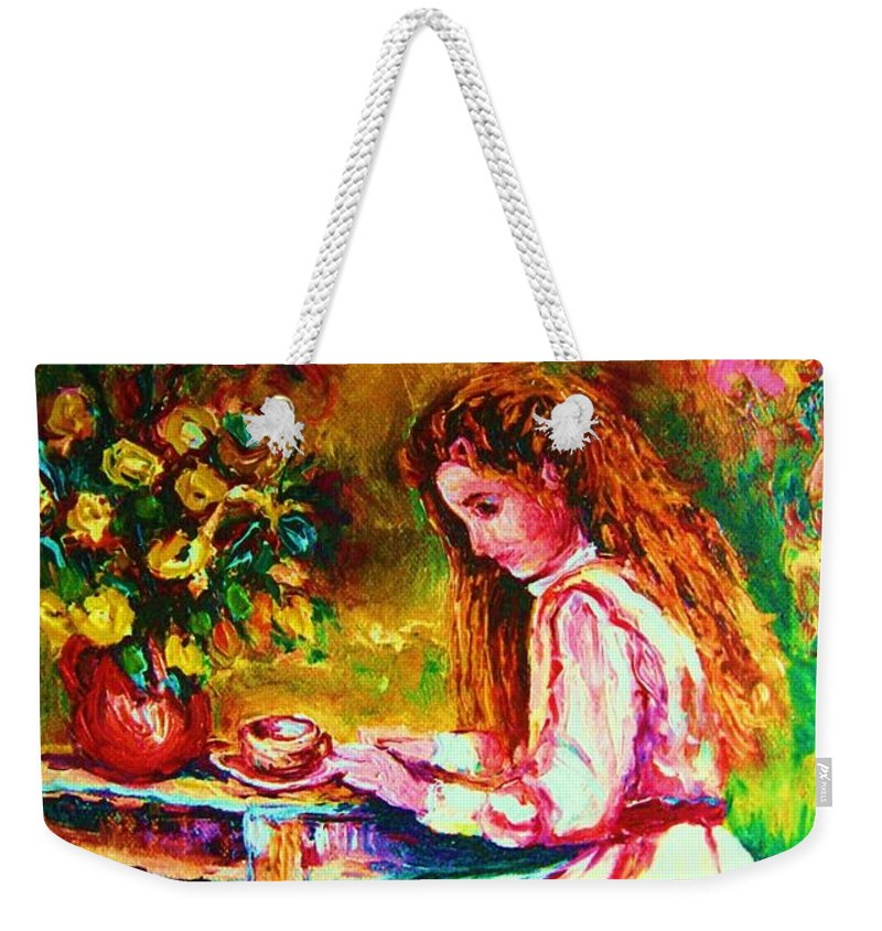 Impressionism Weekender Tote Bag featuring the painting Coffee In The Garden by Carole Spandau