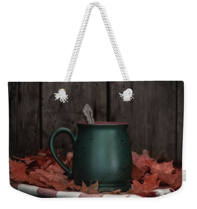 Tea Weekender Tote Bag featuring the photograph Coffee, Tea And Autumn by Kim Hojnacki