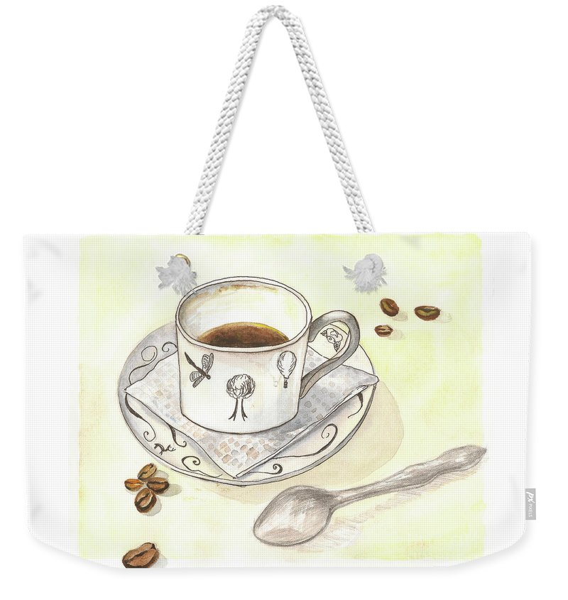 Coffee Weekender Tote Bag featuring the painting Coffee by Yana Sadykova