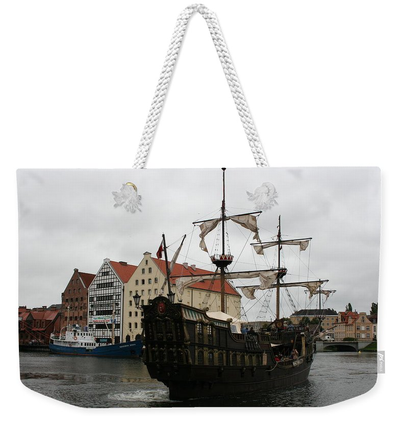 Ship Weekender Tote Bag featuring the photograph Cog On Wotlawa River by Christiane Schulze Art And Photography