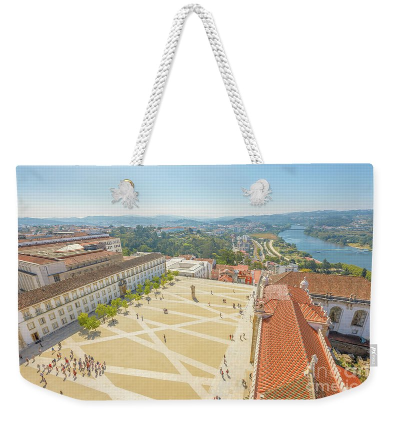 Coimbra Weekender Tote Bag featuring the photograph Coimbra University Aerial by Benny Marty