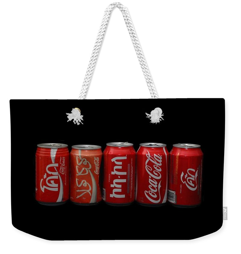 Red Weekender Tote Bag featuring the photograph Coke Cans by Rob Hans
