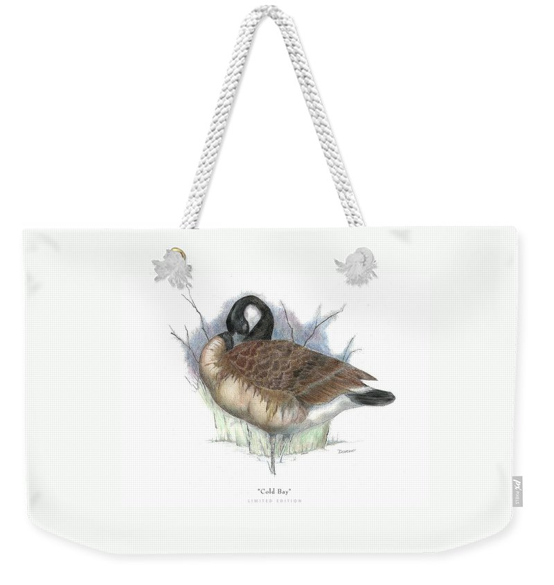 Canadian Goose Weekender Tote Bag featuring the drawing Cold Bay by David Weaver