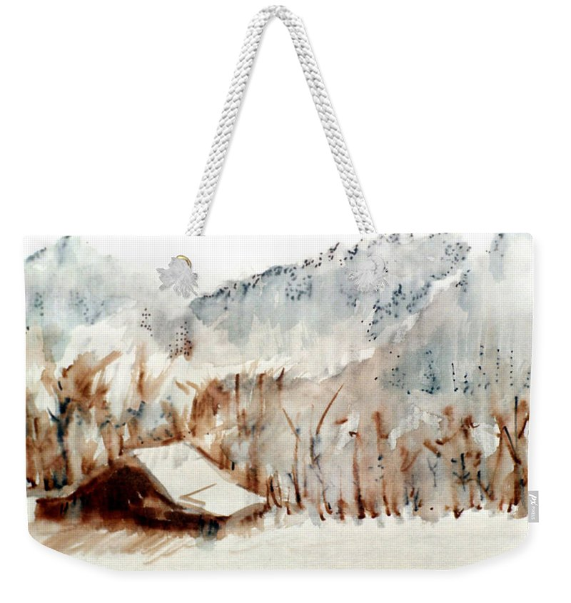 Cold Cove Weekender Tote Bag featuring the mixed media Cold Cove by Seth Weaver