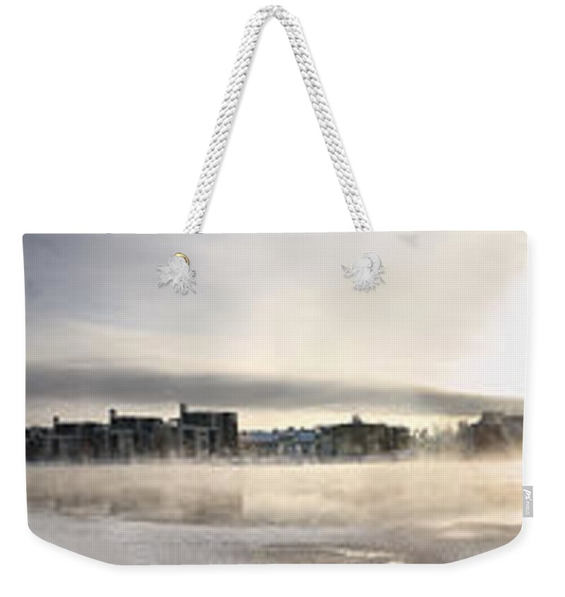 Panorama Weekender Tote Bag featuring the photograph Cold Day Foggy River Panorama Oulu by Sandra Rugina