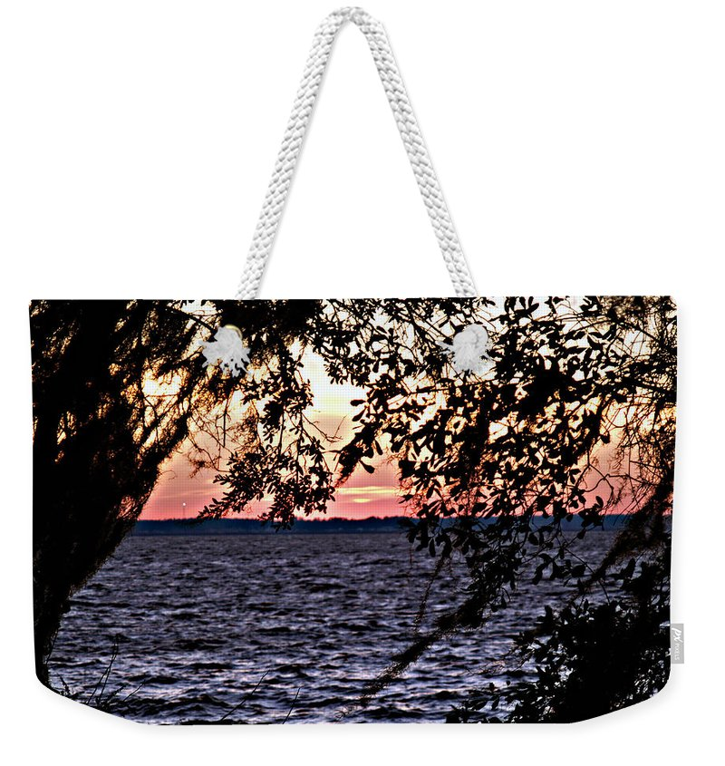 Cold Weekender Tote Bag featuring the photograph Cold Florida Sunset by Bob Johnson