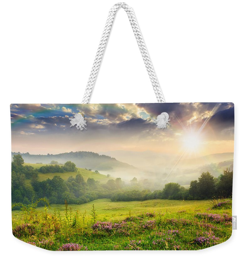 Landscape Weekender Tote Bag featuring the photograph Cold Fog In Mountains On Forest At Sunset by Michael Pelin