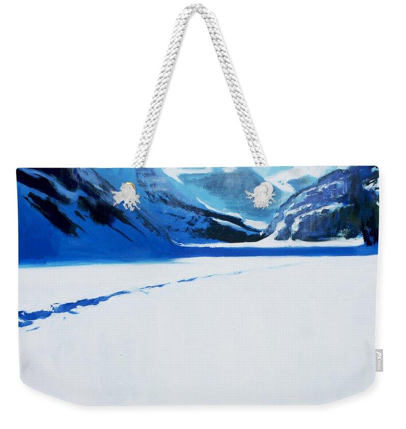 Lin Petershagen Weekender Tote Bag featuring the painting Cold by Lin Petershagen