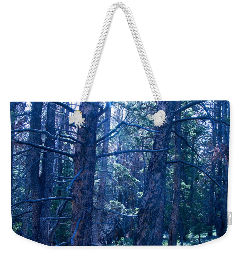 Blue Weekender Tote Bag featuring the photograph Cold Mountain Light by Jeffery Ball