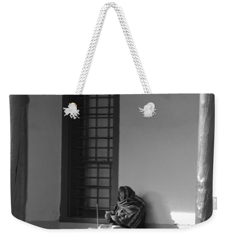 Southwestern Weekender Tote Bag featuring the photograph Cold Native American Woman by Rob Hans