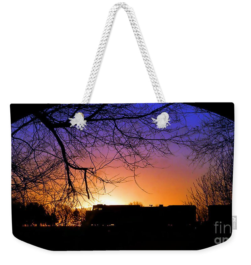 Trains Weekender Tote Bag featuring the photograph Cold Wait by Concolleen's Visions Smith