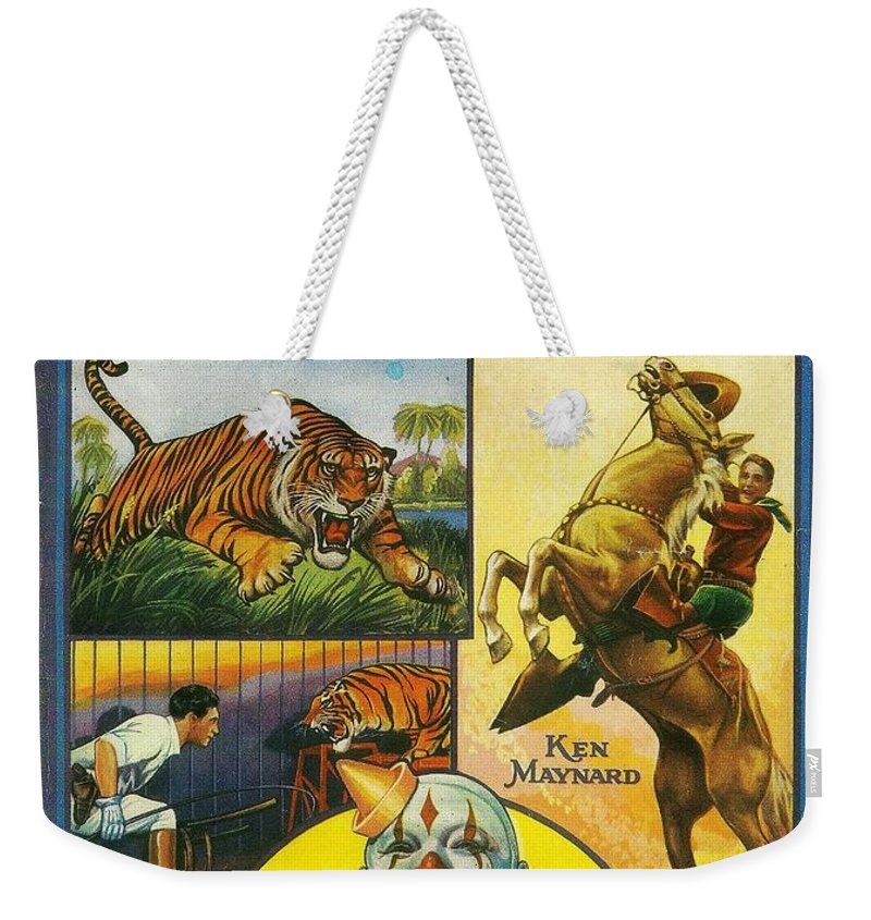 Cole Bros Circus Weekender Tote Bag featuring the painting Cole Bros Circus With Clyde Beatty And Ken Maynard Vintage Cover Magazine And Daily Review by R Muirhead Art