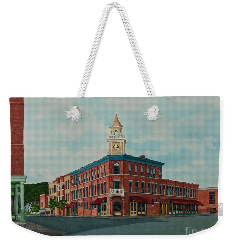 Colgate Book Store Weekender Tote Bag featuring the painting Colgate Bookstore by Charlotte Blanchard