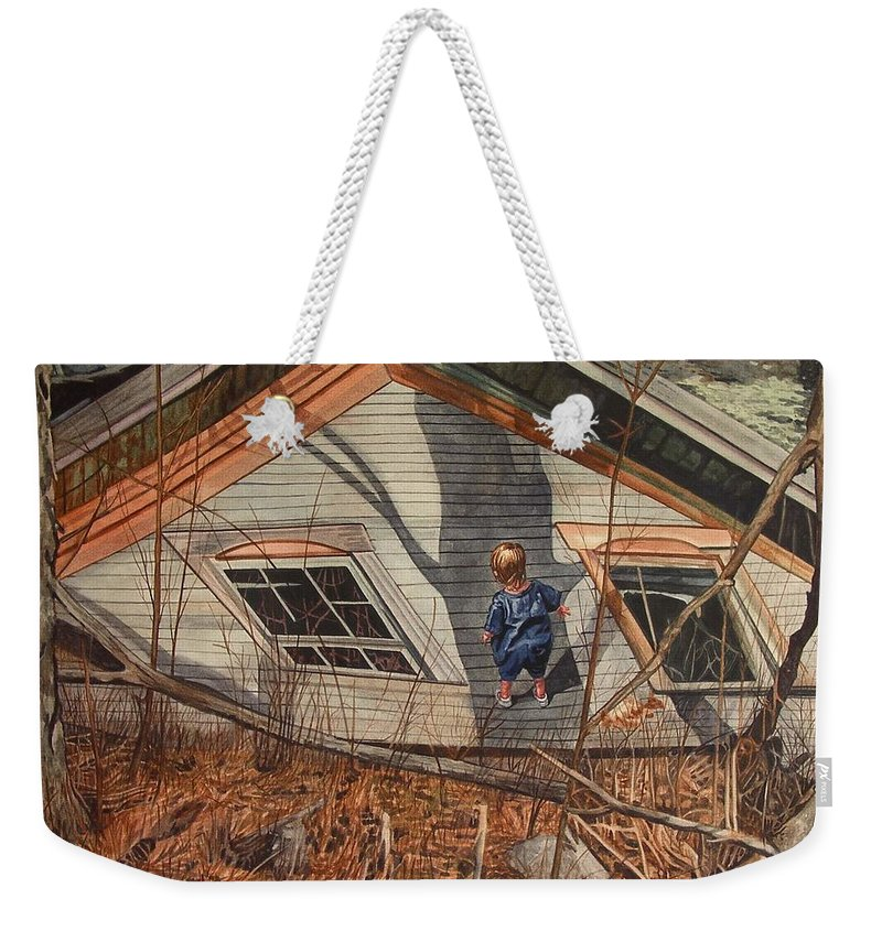 Children Weekender Tote Bag featuring the painting Collapsed by Valerie Patterson