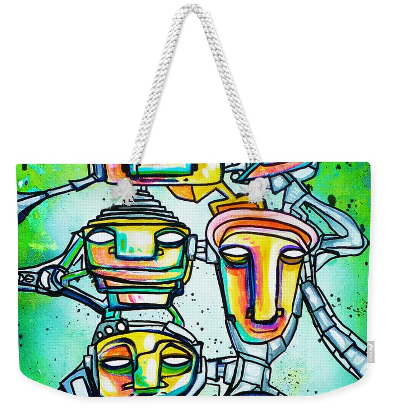 Art Weekender Tote Bag featuring the painting Collective Minds by Larry Calabrese