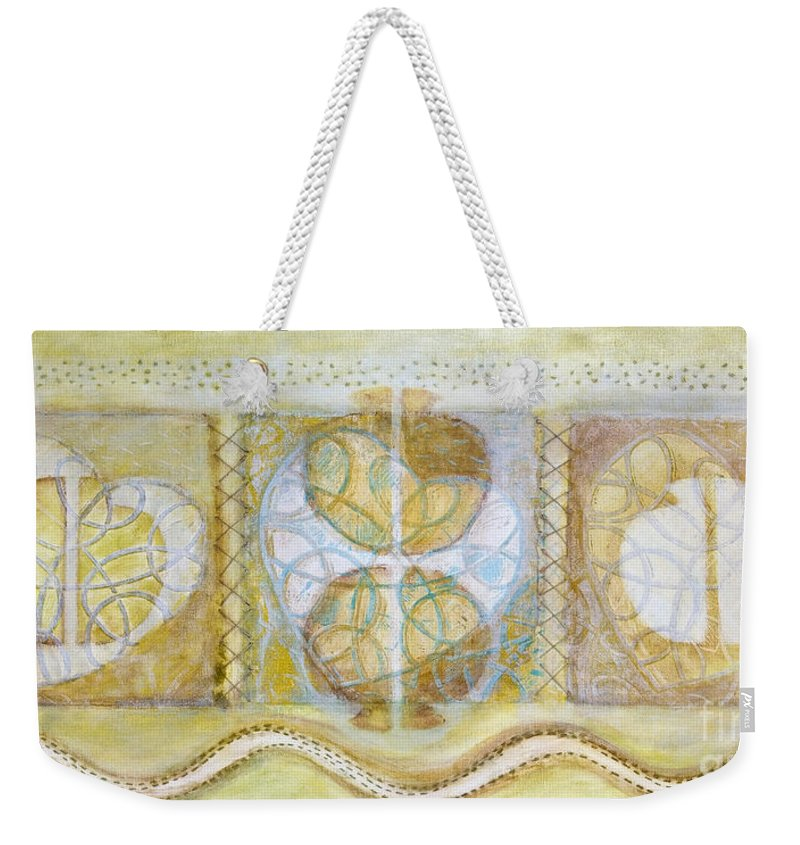 Symbolism Weekender Tote Bag featuring the painting Collective Unconscious Three Equals One Equals Enlightenment by Kerryn Madsen- Pietsch
