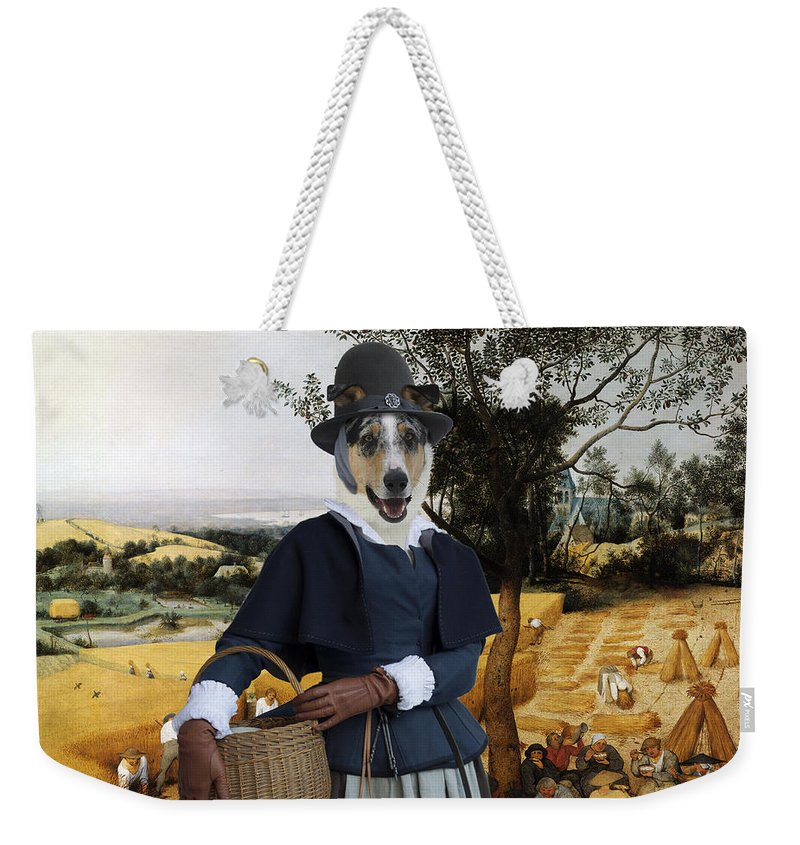 Collie Smooth Weekender Tote Bag featuring the painting Collie Smooth - Smooth Collie Art Canvas Print - The Harvesters by Sandra Sij