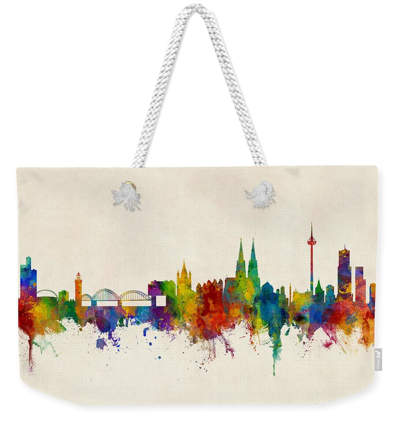Cologne Weekender Tote Bag featuring the digital art Cologne Germany Skyline by Michael Tompsett