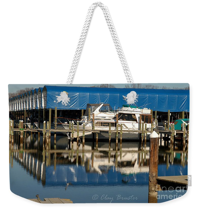 Clay Weekender Tote Bag featuring the photograph Colonial Beach Marina by Clayton Bruster
