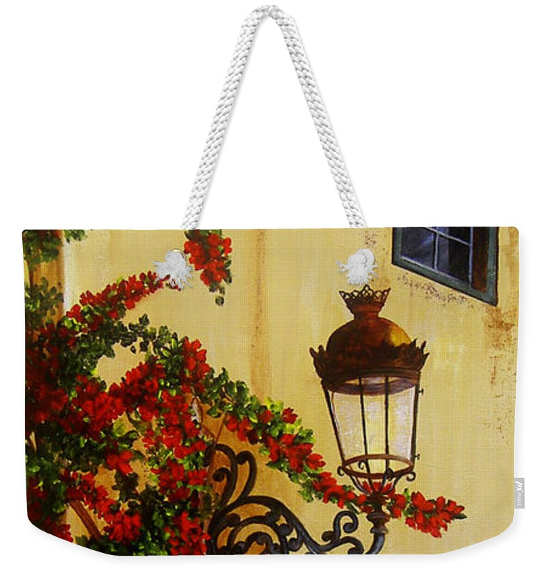 Cuban Painter Weekender Tote Bag featuring the painting Colonial Corner by Dominica Alcantara