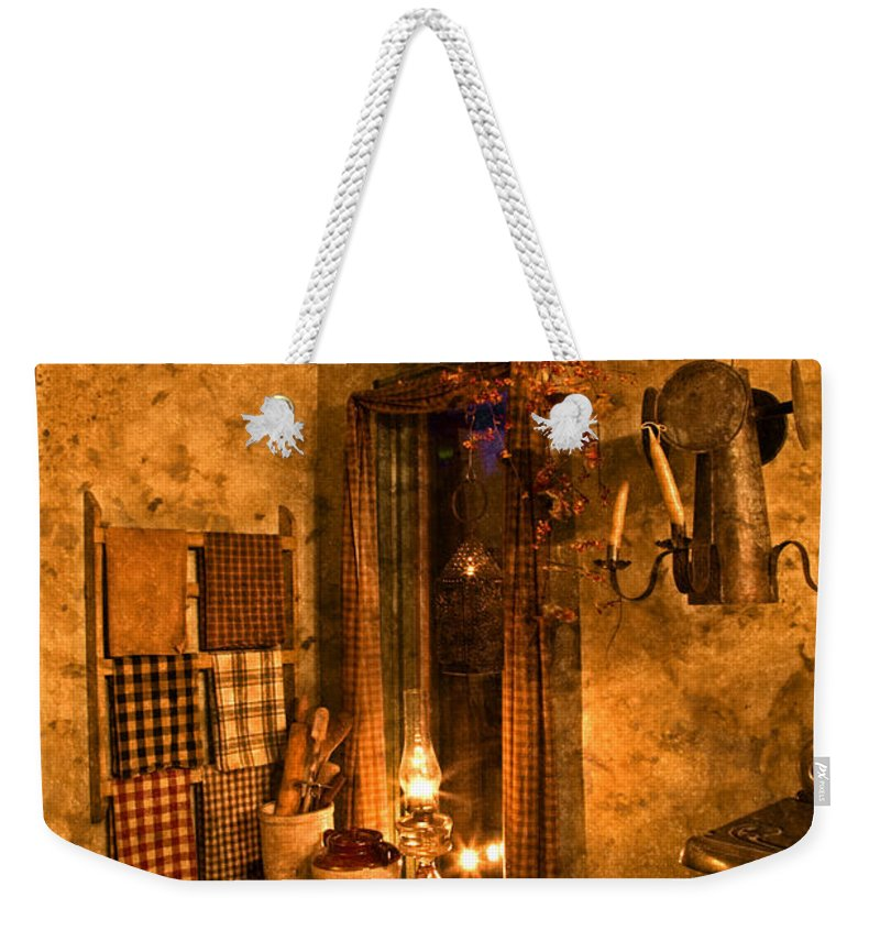 Colonial Weekender Tote Bag featuring the photograph Colonial Kitchen Evening by John Stephens