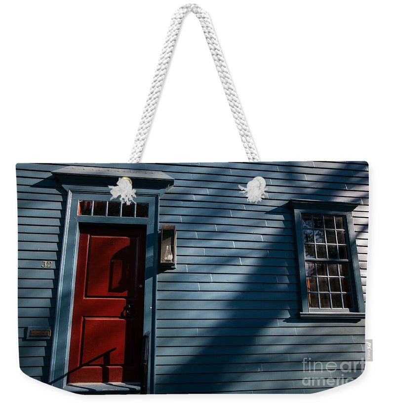 Travel Weekender Tote Bag featuring the photograph Colonial Red Door Newport Rhode Island by Jason O Watson