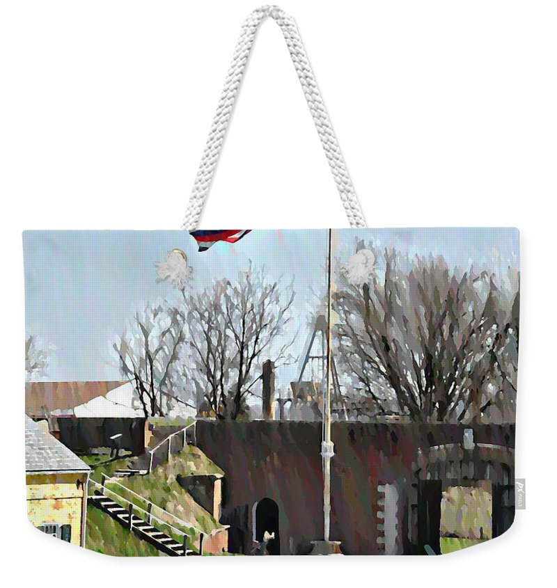 Colonial Weekender Tote Bag featuring the photograph Colonial Soldiers by Bill Cannon