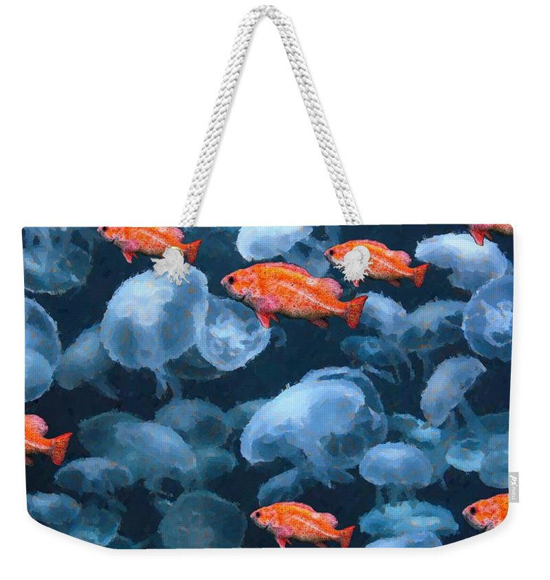 Fish Weekender Tote Bag featuring the digital art Color And Colorless Fish by Ron Bissett