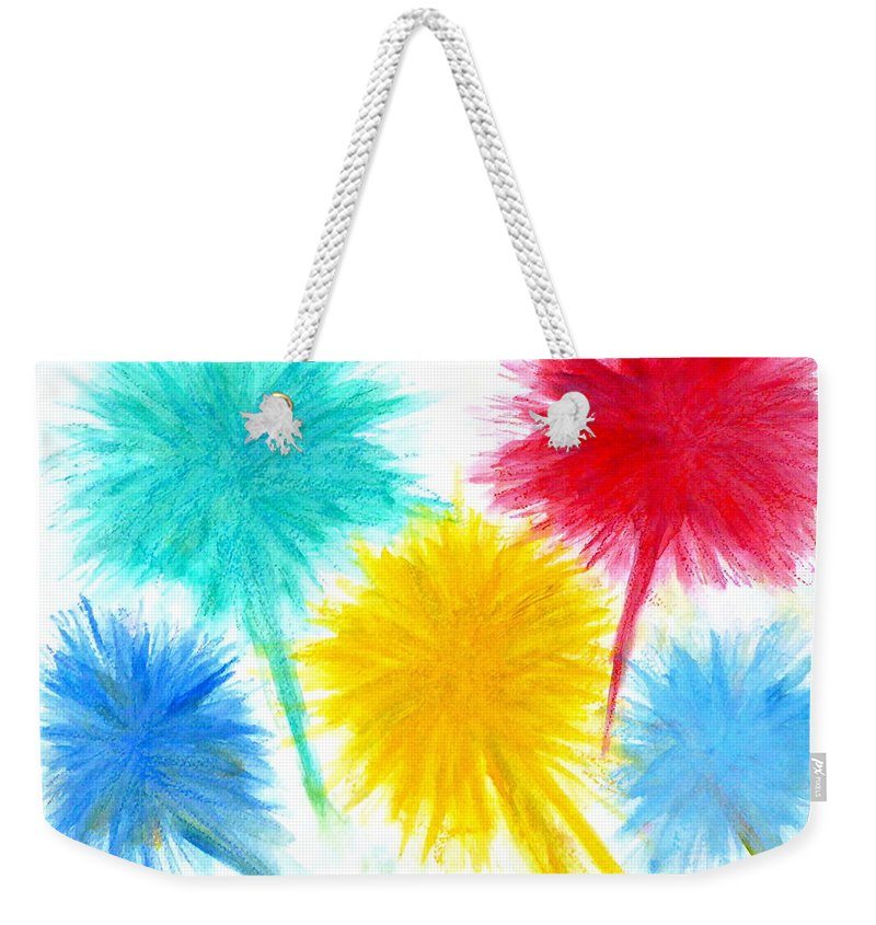 Weekender Tote Bag featuring the painting Color Burst 1 by Roberto Concha