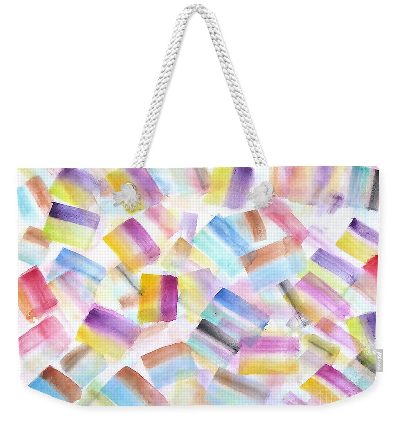 Weekender Tote Bag featuring the painting Color Burst 2 by Roberto Concha