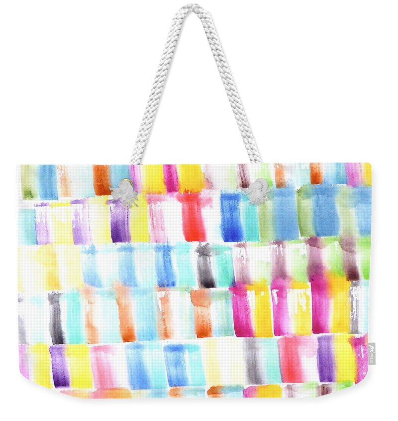 Weekender Tote Bag featuring the painting Color Burst 3 by Roberto Concha