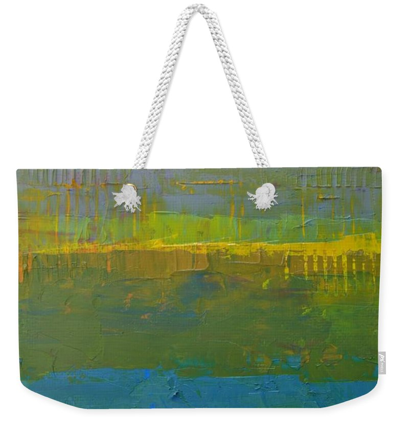 Abstract Weekender Tote Bag featuring the painting Color Collage Five by Michelle Calkins