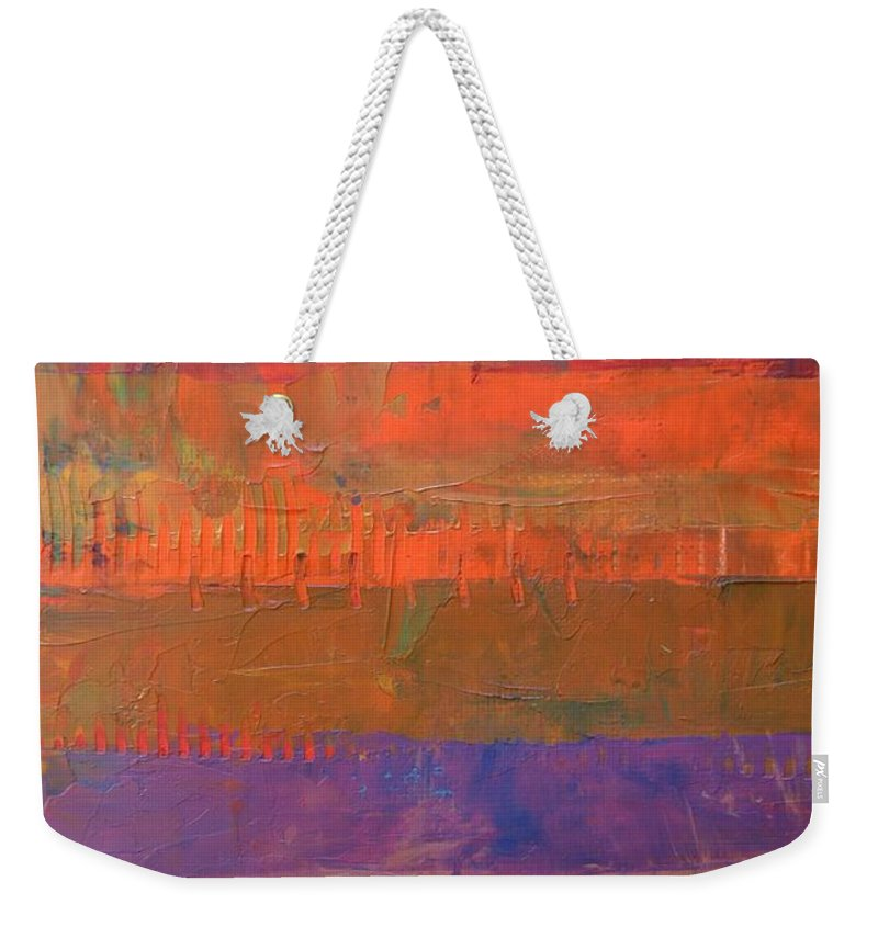 Abstract Weekender Tote Bag featuring the painting Color Collage Two by Michelle Calkins