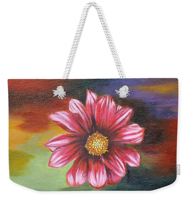 Daisy Weekender Tote Bag featuring the painting Color Explosion by Donna Cook