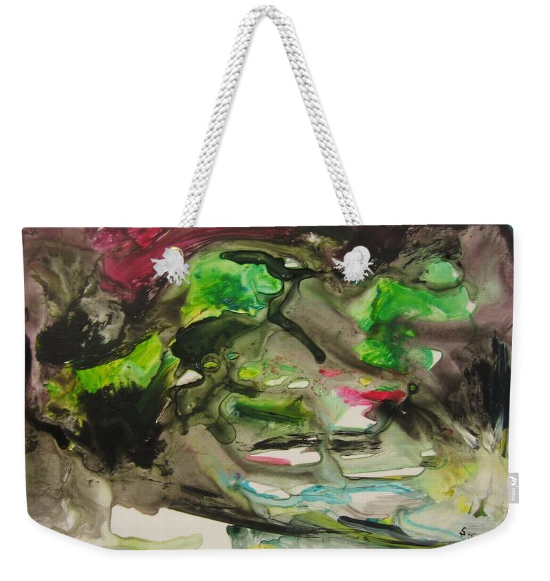 Abstract Paintings Weekender Tote Bag featuring the painting Color Fever 114 by Seon-Jeong Kim