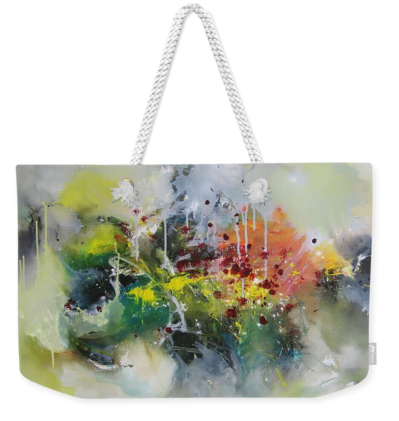 Yellow Paintings Weekender Tote Bag featuring the painting Color Fever Large 16 by Seon-Jeong Kim