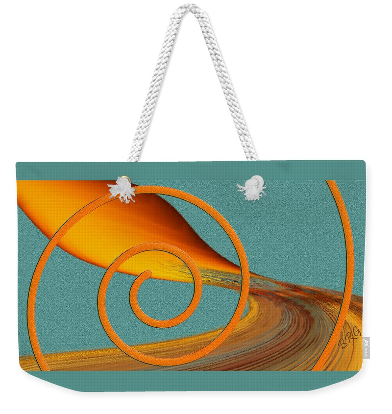 Orange Abstract Weekender Tote Bag featuring the digital art Color Me Bright by Ben and Raisa Gertsberg
