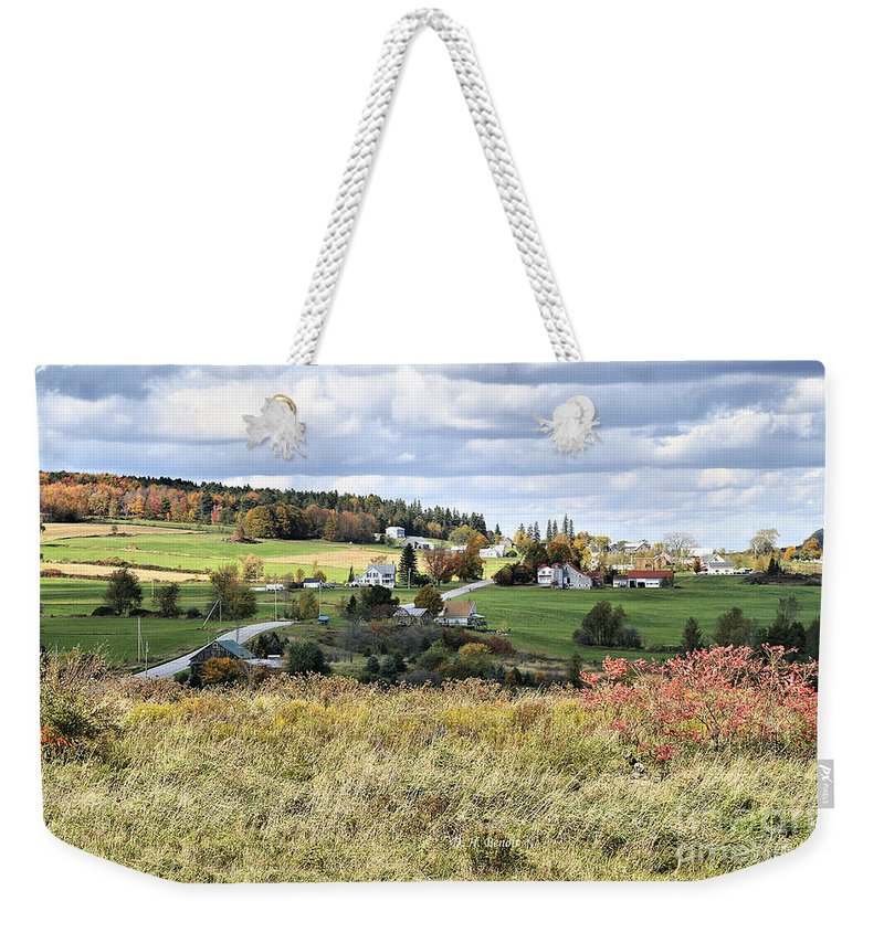 Vermont Weekender Tote Bag featuring the photograph Color On The Hills by Deborah Benoit