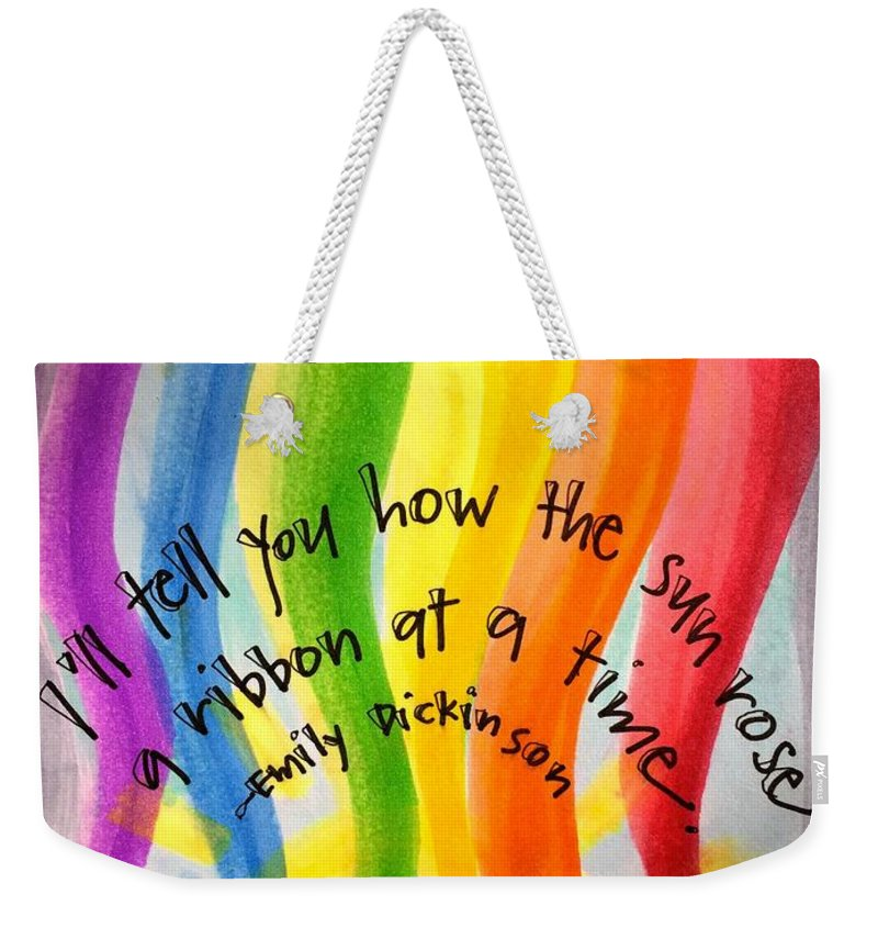 Rainbow Weekender Tote Bag featuring the painting Color the Sky by Vonda Drees
